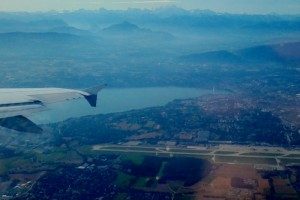 Taking off in GVA with view of mountains and jet d'eau